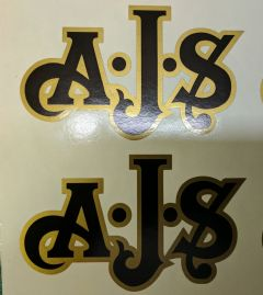 AJS London Stickers x2 A.J.S Decal Logo Tank Motorcycle Vintage Black & GOLD B
